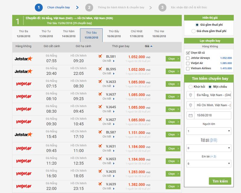 Chức năng tìm kiếm vé máy bay của website