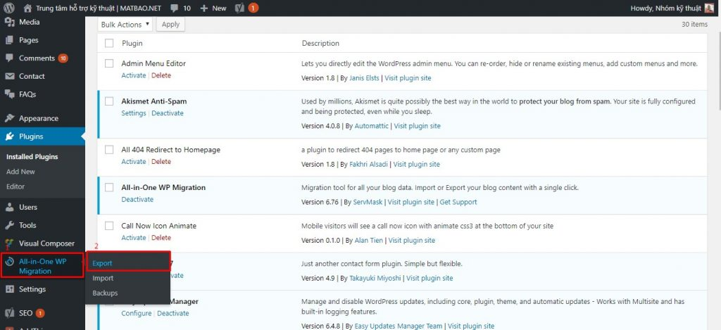 Hướng dẫn chuyển dữ liệu website WordPress bằng Plugin All-in-One WP Migration