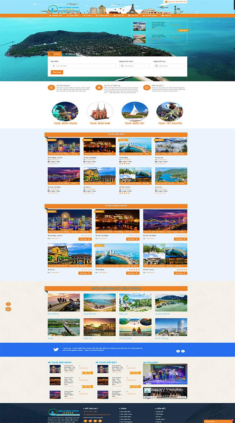 Thiết kế website du lịch Nam Á Đông travel